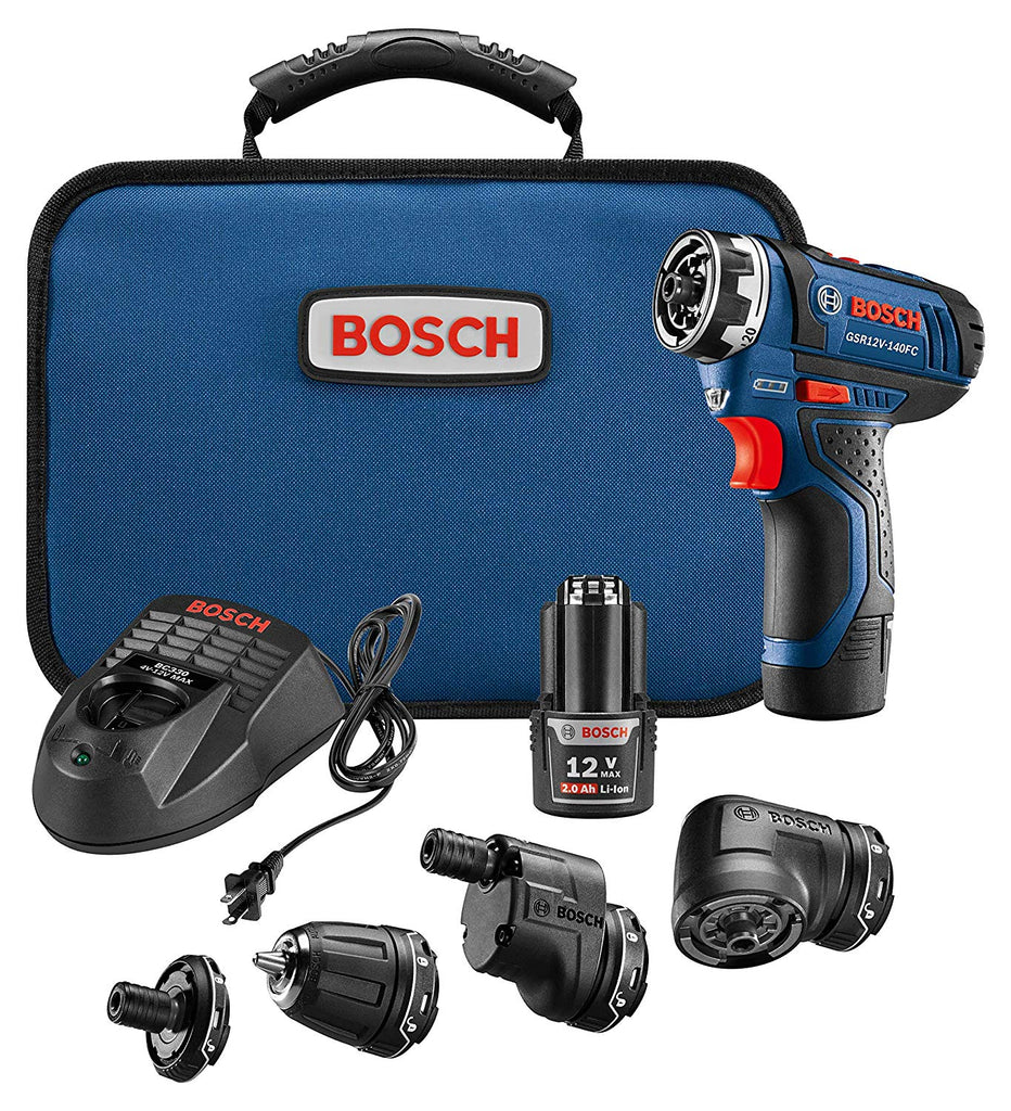 Bosch GSR12V-140FCB22 Cordless Electric Screwdriver Kit – 12V 5-In-1 Multi-Head Power Drill Set $116.99
