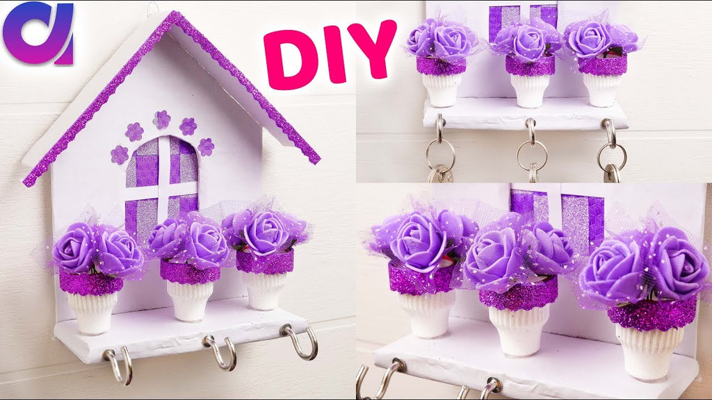How to make unique Key holder for wall at home | Best out of waste | Artkala 4k #diy #keychain #rosekeyholder #uniqueidea #trending A keychain, or key holder ...
