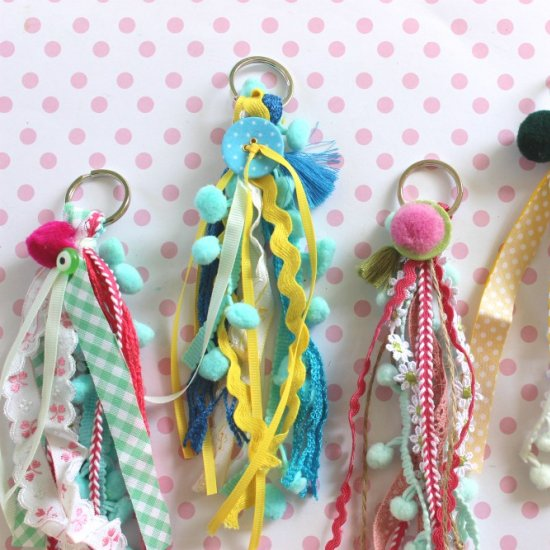 Fabric and Ribbon Scraps Keyholders