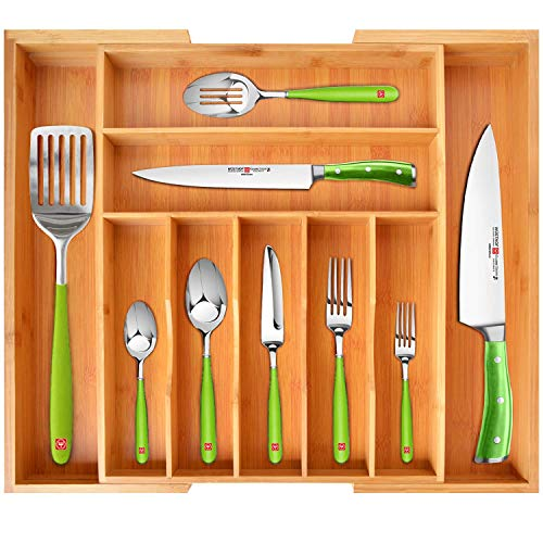 Bamboo Kitchen Drawer Organizer – Expandable Silverware Organizer/Utensil Holder and Cutlery Tray with Grooved Drawer Dividers for Flatware and Kitchen Utensils by Royal Craft Wood
