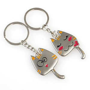 Cute Cat Shaped Metal Keychain, 1 Pair