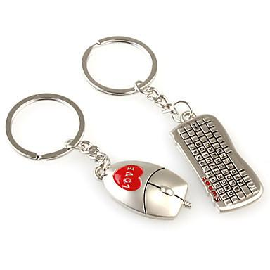 Mouse and Keyboard Shaped Metal Keychain, 1 Pair