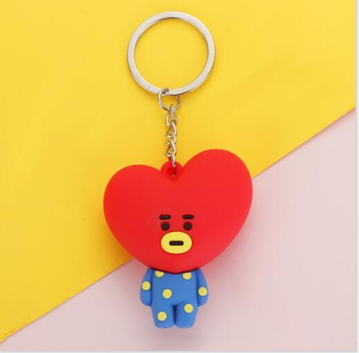 1 PCs Popular Key Holder Bangtan Boys Pendant Key Ring Kpop BTS BT21 3D Cartoon Keychains Bag Accessories Jewelry Wholesale