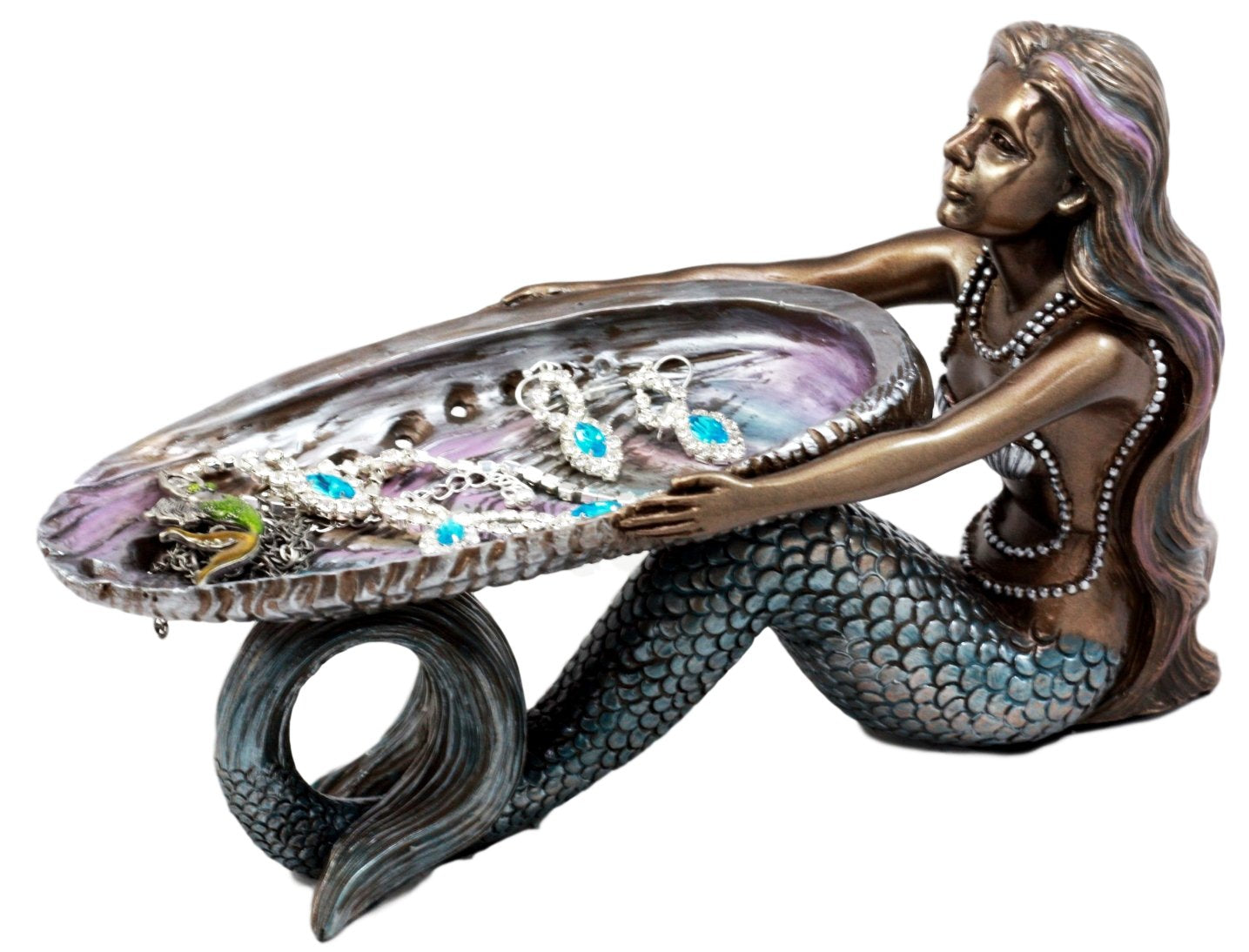 "Ebros Gift Mermaid Holding Abalone Shell Platter Jewelry Dish Figurine 9""L Art Nouveau Soap Dish Key Holder Multi Function Decor"