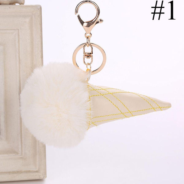 1PC New Design Artificial Fur Pompom Plush Keychain Fluffy Ball Ice Cream Key Chain Women Bag Pendant Car Key Holder Accessories