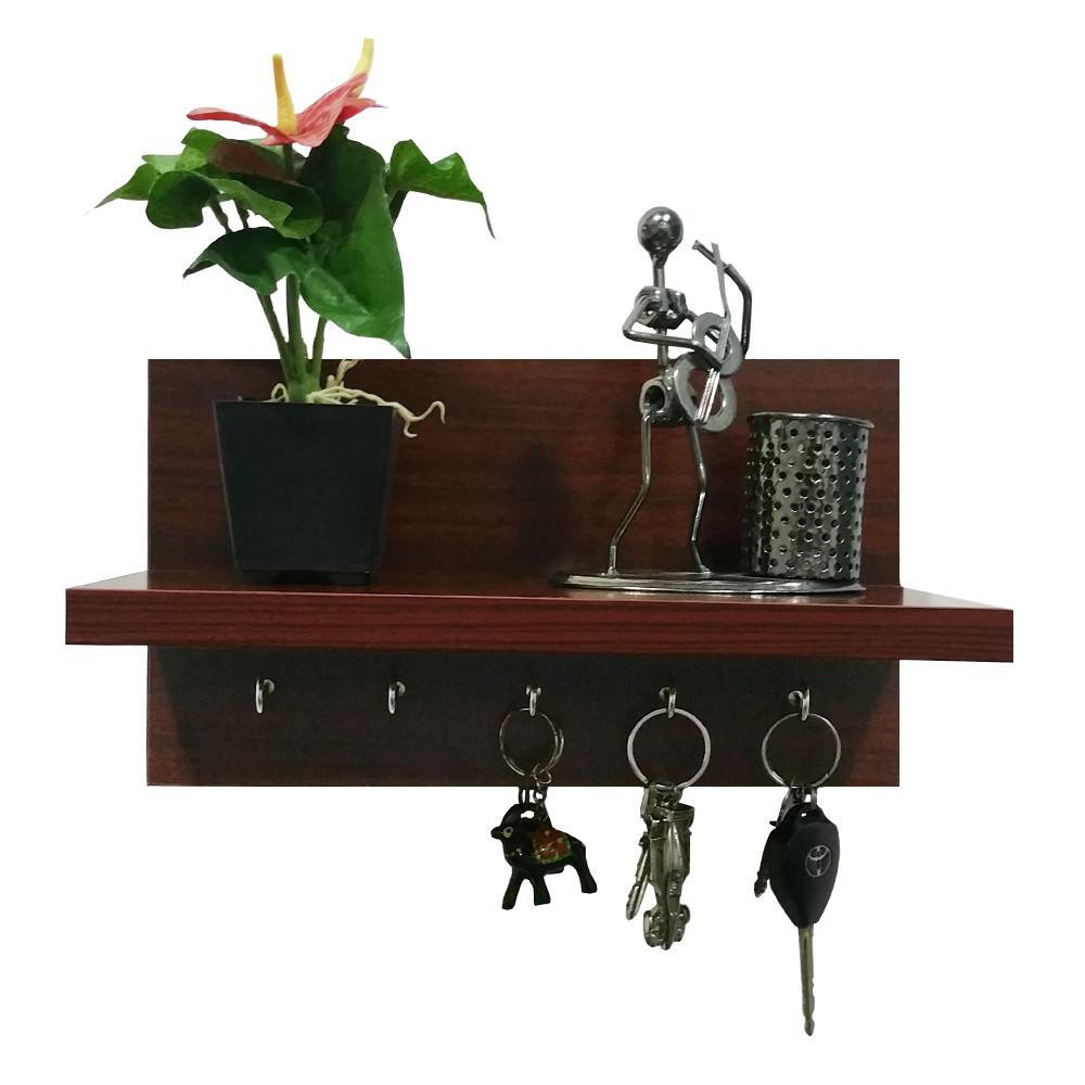 Omega 6 Wooden Key Holder With Wall Decor Shelf, 5 Key Hooks- Mahogany Finish