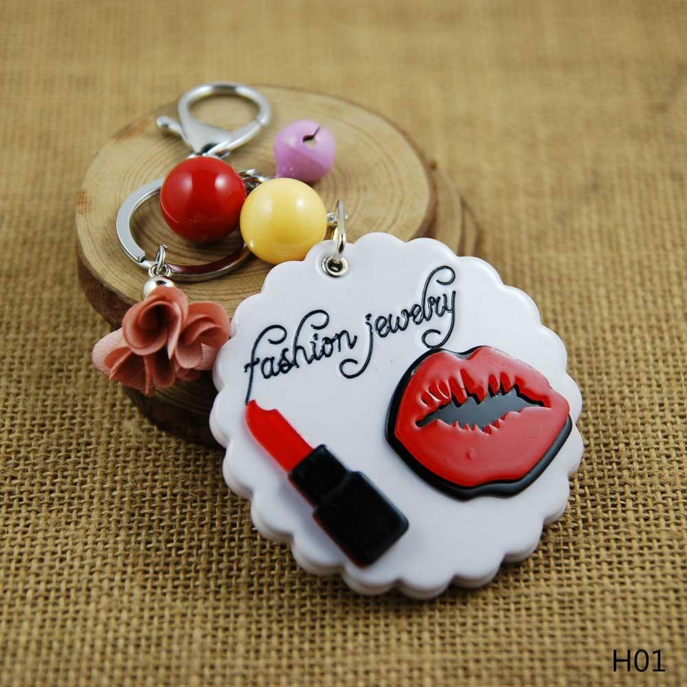 1pc Lipstick Mirror Key Chain for Women DIY Acrylic Mirror Keyrings Luxury Flower Lip Keychains Brands Woman Charms for Bags