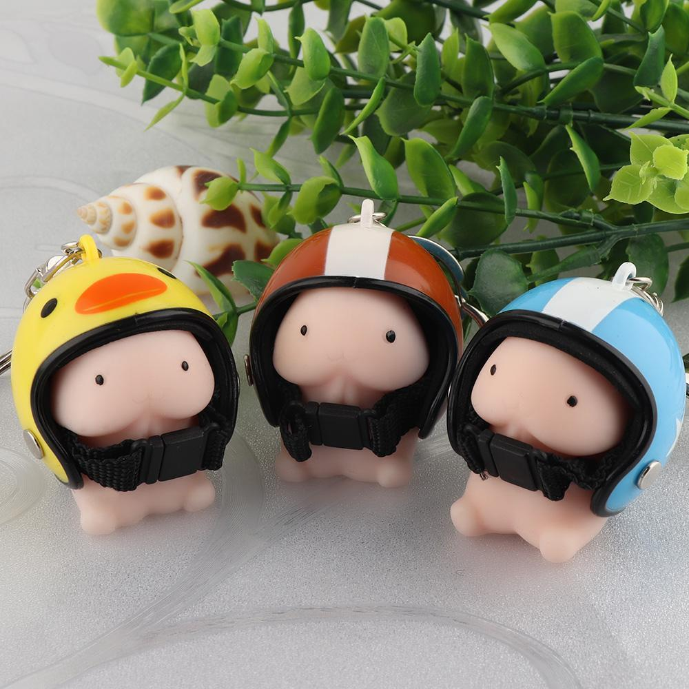 1Pc Squeeze Toys Helmet Keychain Key Ring Bag Pendant Decoration Key Holder Gift Desk Sets New