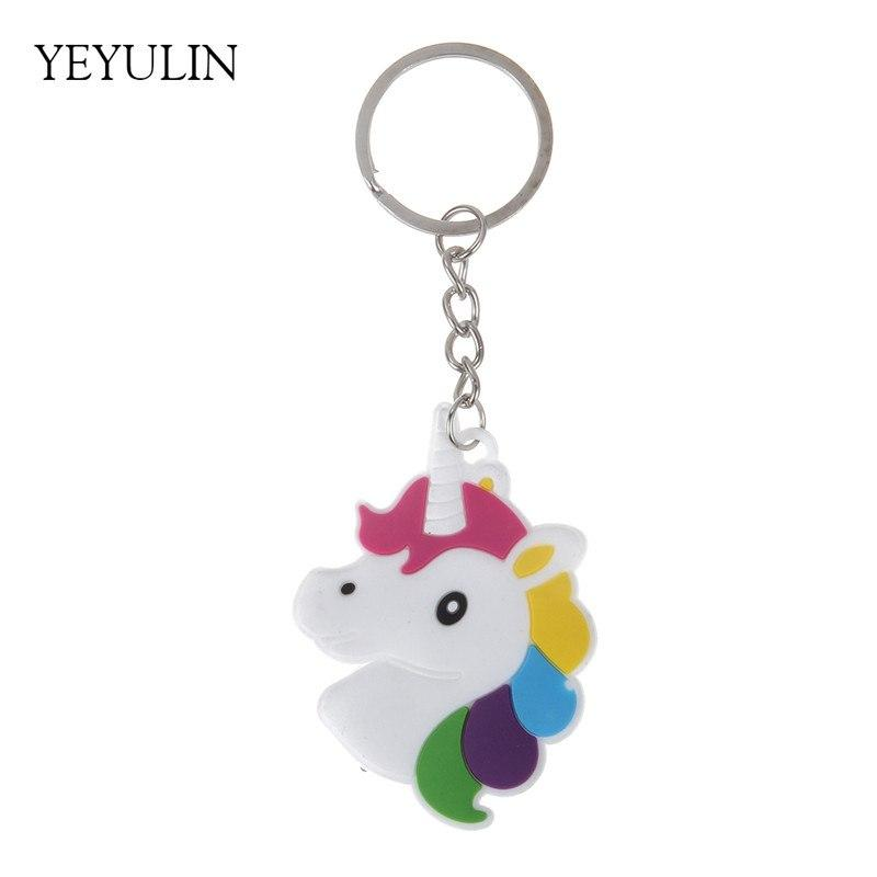 1pcs Trendy Cute Little Fairytale PVC Unicorn Keychain Multi-style Horse Key Holder Alloy Key Ring For Woman Girls Gift