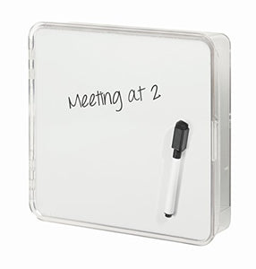iDesign Linus Key Organizer Holder with Dry Erase Board for Entryway, Kitchen - Wall Mount, Clear/White