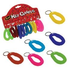 Colorful Stretchy Spiral Keychain Bracelets - 12 Pack