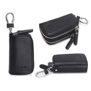 Genuine Leather Double Zippers Portable Wallet