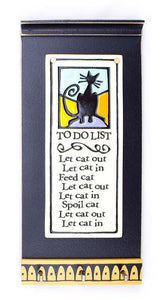 Cat to do List Ceramic Tile on Wooden Key Holder