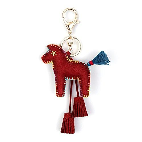 Horse Key Ring Chain, Nikang Handmade Leather Key Holder Metal Chain Charm With Tassels, Tassel Key Chain, Handbag Accessories, Purse Pendant, Fashion Item, Car Key Chain, Idea for Woman, Wine