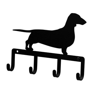 Iron Dachshund Dog Key Rack / Jewelry Holder / Pet Leash Hanger - Black Metal