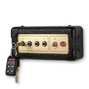 Guitar Amp Wall Key Holder with 4 Keychains. Amp Inspired. American Made by DropLight Ind. (Goldtone)