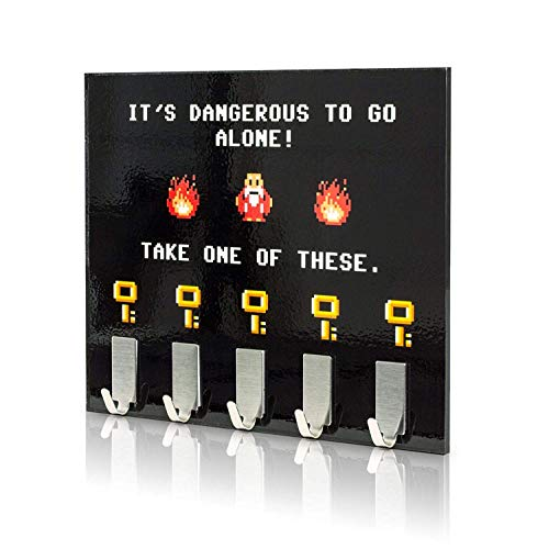 getDigital Dangerous to go alone Key Rack - Geeky Home and Office Decor Wall-Mounted Key Holder with 5 Metal Hooks - 8.27 x 6.29 inch