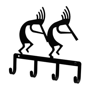 Iron Kokopelli Key Rack - Jewelry Holder - Pet Leash Hanger - Black Metal