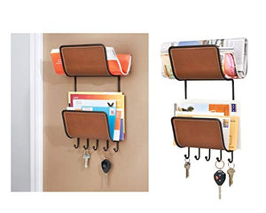InterDesign Laredo Magazine, Mail/Letter Holder, Key Rack Organizer for Entryway, Kitchen - Wall Mount, Brown/Bronze