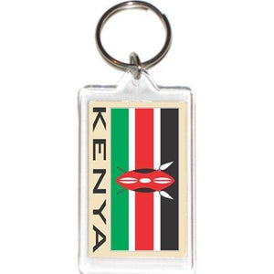 Acrylic Keychains Keyrings Holders - Asia &Amp; Africa Grp 2 (1-Pack, Country: Kenya)