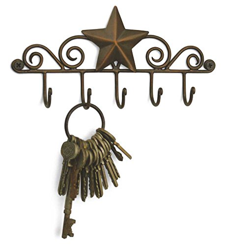 Star Key Rack Exclusive Key Holder Wall Organizer - Aged Copper Rustic Western American Decor