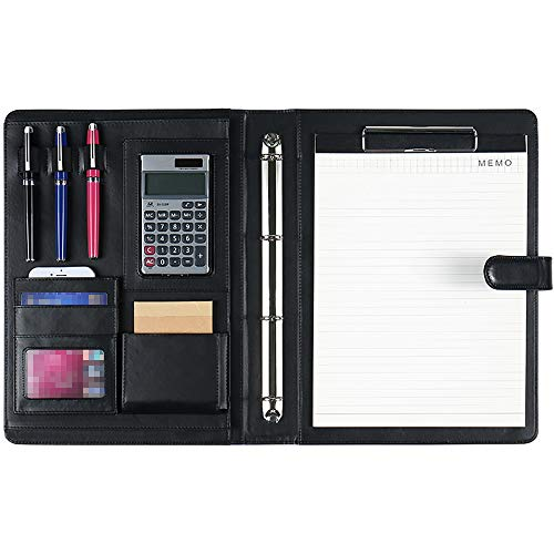 DAPTSY Padfolio Clipboard Folder 4 Ring Binder Magnetic Closure Writing Pad - Document Organizer Resume Holder Work Portfolio with Notebook & Calculator for Interview Business