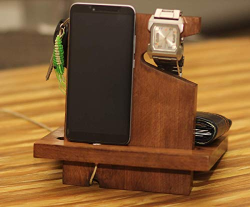 Crafkart Wooden Right Handed Phone Docking Station with Key Holder, Pen Holder, Wallet and Watch Organizer - Perfect Men's Gift…