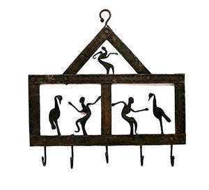 Chinhhari Arts, Original Creative Wrought Iron Tribal Dance Key Chain Holder for Entryway, Kitchen, Office, Living Room, Wall Decor Art - Wall Mount (14 X 8 inch)