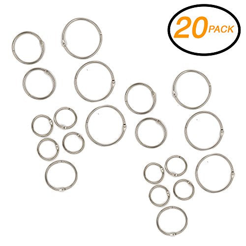 "Emraw Assorted Size (1"",1.5"" & 2"") Metal Book Rings Precision Snap Lock Closures – for School, Home & Office (Pack of 20)"