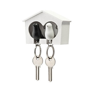 Duo Sparrow Key Holder by Qualy Design. Wall Mounted Bird House and Two Bird Key Fobs. Great Key Hook for Couple. Cool Gift for Her and Him. White Birdhouse. White and Black Keyring Birds.
