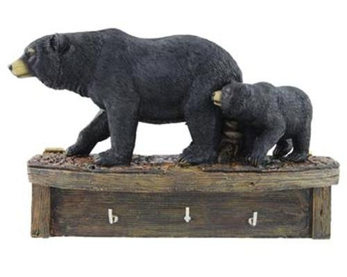 Black Bear Family Cub Keyholder Rack Hook Sculpture, Wall Mounted, 8-inch