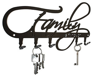 Family Is Forever Wall Key Holder, Hooks - Design Black, Metal