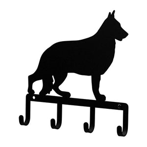 Iron German Shepard Dog Key Rack / Jewelry Holder / Pet Leash Hanger - Black Metal
