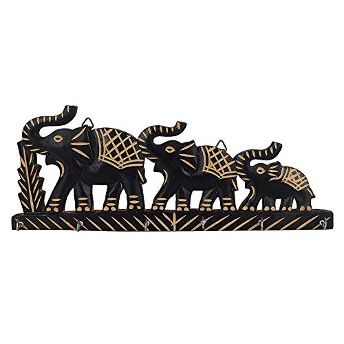 IndiaBigShop Handmade Wooden Key Holder With 3 Elephant Wall Mounted and 6 Key hooks for Organising Purpose 13.5 Inch