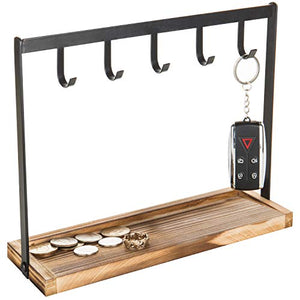 MyGift 5-Hook Burnt Wood & Black Metal Tabletop Key Holder, Jewelry Organizer Rack