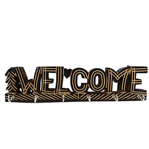 "Valentine Day Special Present, Wooden 6 Hooks ""WELCOME"" Design Key Holder, Key Hanger, Key Holder For Wall, Key Hook For Wall, Key Organizer, Key Hanger For Wall, Black Color Size 11 X 2.6 Inch"