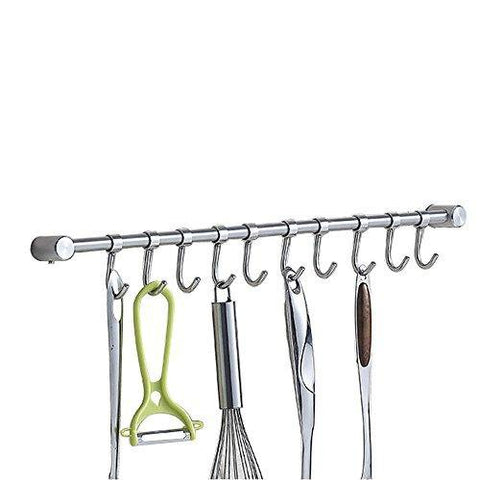 Vidwala Kitchen Wall Hanging Cookware Rack with Adjusted Hooks, Wall Mount Rail, Utensil Storage Organizer Rcks, Neatly Organizes, Stainless Steel