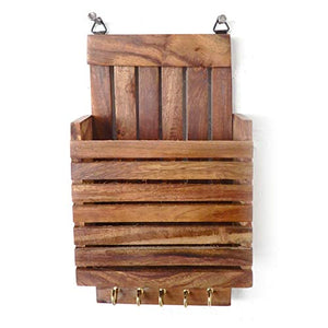 IndiaBigShop Wooden Wall Hanging Letter Organiser/rack and Letter and Paper Holder Mail Box, Letter Mail Organiser with 3 Key Hooks and holder 9 Inch