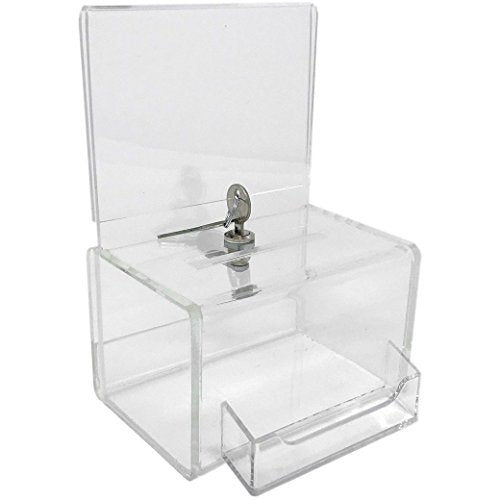 Dazzling Displays Clear Acrylic MINI Donation Box with Attached Business Card Holder, and Cam Lock and (2) Keys