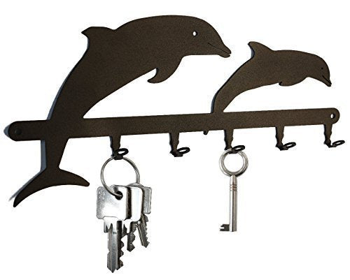 Dolphins - Key Holder, Hooks, Hanger, Metal, Black