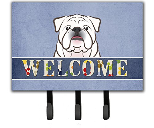 Caroline's Treasures BB1406TH68 White English Bulldog Welcome Leash or Key Holder, Large, Multicolor