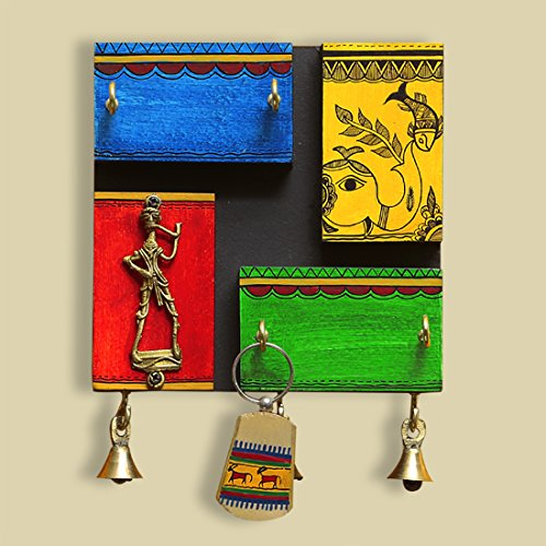 ExclusiveLane Warli Hand-Painted Wooden Key Holder with Dhokra Art - Key Rack Key Organizer Hooks Key Hangers for Wall Key Hook Key Holder for Wall Wall Hanger Wall Décor Wall Decorations for Bedroom