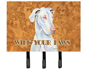 Caroline's Treasures LH9444TH68 White Great Dane Wipe Your Paws Leash or Key Holder, Large, Multicolor