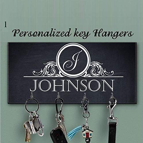 Black White Key Holder for wall, Monogram key holder, Personalized key hanger, Charcoal Key Holder, Key Hanger, Family name Wall Key Rack, Last name key rack, Custom Gift, Wedding Gift, Closing Gift
