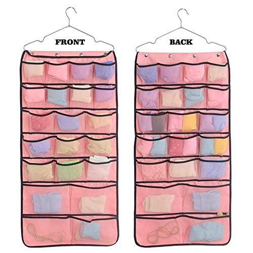 Dual-Sided Hanging Closet Organizer?Sock Organizer, Jewelry Hanging Bag for Stockings, Underwear, Toiletries, Household & Children Accessories, 42 Mesh Pockets Oxford Fabric Organization (Pink)