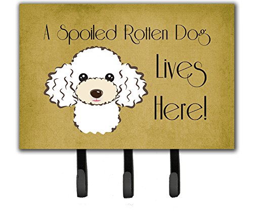 Caroline's Treasures BB1505TH68 White Poodle Spoiled Dog Lives Here Leash or Key Holder, Large, Multicolor