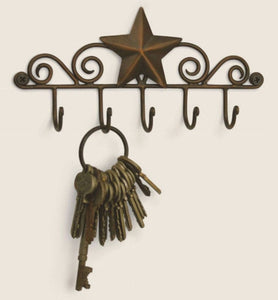 Copper Iron Metal Decorative Barn Star 5 Wall Mounted KEY Hanger Holder Hook