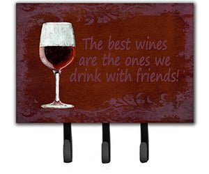 Caroline's Treasures SB3068TH68 The Best Wines are The Ones We Drink with Friends Leash or Key Holder, Large, Multicolor
