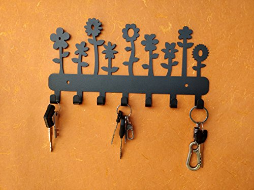 HeavenlyKraft Flowers Wall Mounted Metal Key Holder, Key Rack Organizer for Entryway and Kitchen - Wall Mounted, Key Organizer, Metal Key hook, 10.6 X 5.7 X 0.8 INCH