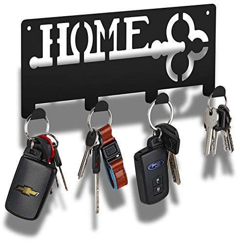 Black Key Rack | Modern Key Holder with 4 Hooks | Keyring Holder | Hanging Key Rack with Hooks | Forgetting is Normal. Stop Losing Your Keys with Our Solution.